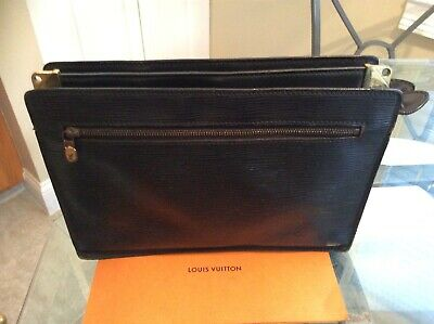 Louis Vuitton Clutch Black EPI two compartment Rare Vintage Authentic