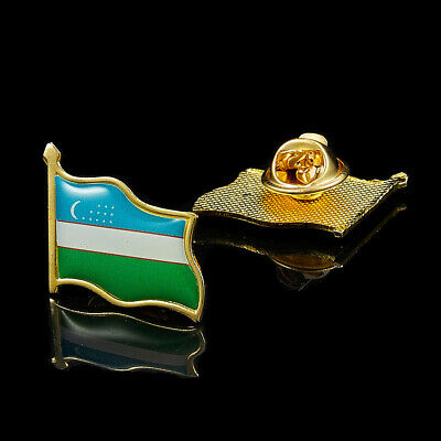 Middle Asian Uzbekistan Country National Gold Plated Flag Lapel Pin&Badge
