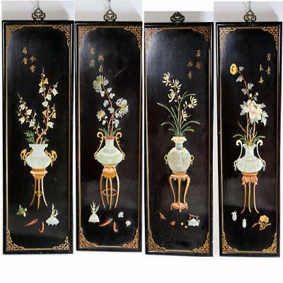 Antique Chinese Hardstone Jade Black Lacquer  Wall Hanging