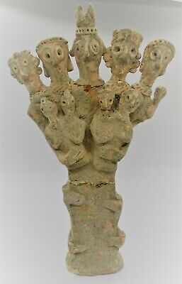 Very Rare Ancient Syro-Hittite Terracotta Idol 9 Headed Circa 1180-700Bce Repair