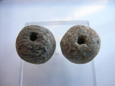 2 Ancient Paleolithic Mammoth Bone Beads, Stone Age, 10000 BC, RARE! TOP !