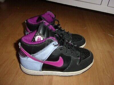 Nike Little Dunk Black, Grey & Pink girls high top trainers size 12