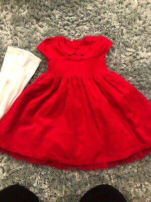 M&S Girls Dress And Tights Age 18-24 Months