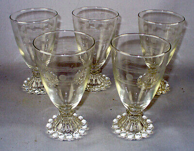 5 VINTAGE BOOPIE ANCHOR HOCKING GLASS GLASSES HOBNAIL ETCHED CIRCLES/LINES 8 oun