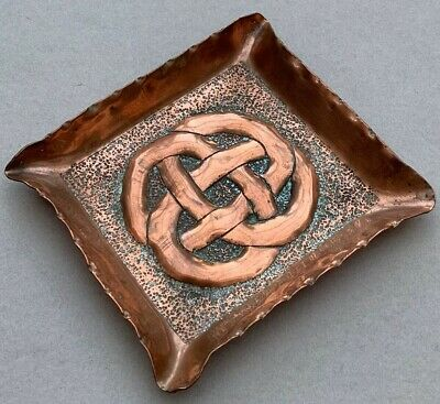 Charming Arts And Crafts Copper Dish Tray Knot Rope Design Ksia Style Embossed