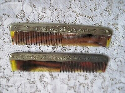 2 Ornate Vintage Floral Silverplate Celluloid Hair Combs for Vanity Art Nouveau