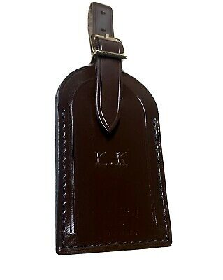 Authentic Louis Vuitton Name Tag w/ KK Initials Stamped Large Damier Ebene 🇫🇷
