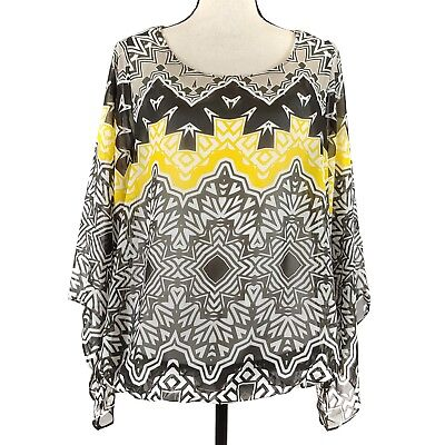 Alfani Womens Top Size 0X Black White Yellow Print Sheer Long Bell Sleeve Plus