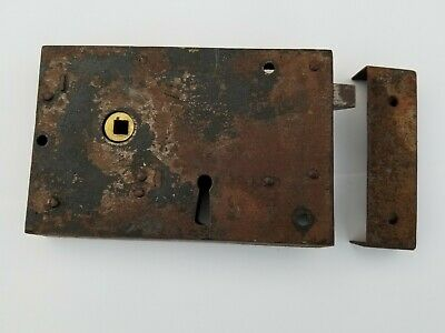 Antique Early 19th Century Rustic Primitive Wrought Iron Door Latch Lock Keeper