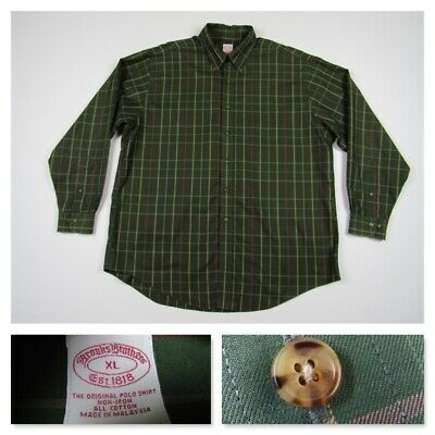 Brooks Brothers Mens Plaid Green Oxford Button Front Long Sleeve Shirt New XL