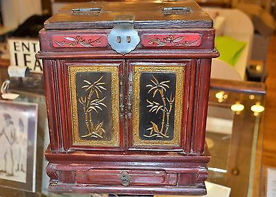 Antique Hand Made Asian Lg Red Wood Jewelry Box w/ Mirror