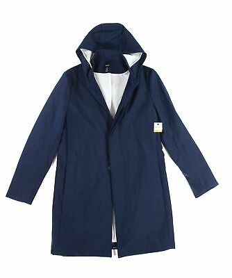 Alfani Mens Jacket Navy Blue Size Small S Bonded Hooded Button-Front $149 170