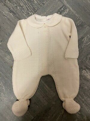 PEX Justin Baby Boys Spanish Style Romany White Knitted Romper Suit Outfit