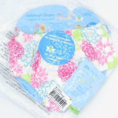 I Play Swimsuit Diaper Reusable & Absorbent Floral Side Snap Infant Sz 6M
