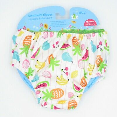 I Play Reusable & Absorbent Swimsuit Diaper White Fruits Swim Diaper Infant 18M