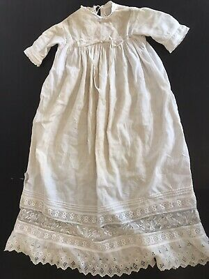 Antique Victorian Christening Gown w beautiful lace for bisque doll needs tlc