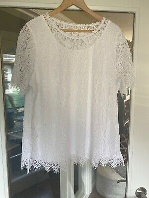 Isaac Mizrahi Live Womens XL Top Floral Lace Top White