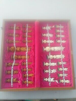 Antique Hand Carved Bone Chinese Oriental Chess Set