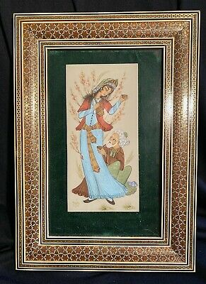Old Persian Wood Marquetry Frame Signed Islamic Painting on Bone