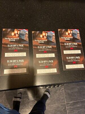 Marlboro coupons $9 Off Total. 6 Coupons, $1.50 Off A Pack Each. All Exp 6/30/20