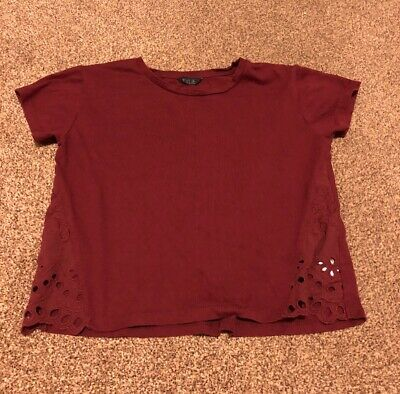 M&Co Kylie burgundy red short sleeved cut out top girls age 9-10 years