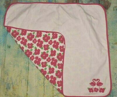Gymboree Pink White Flowers Floral Flamingos Soft Cotton Baby Blanket