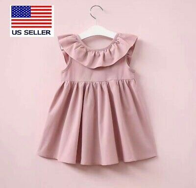 Toddler Kids Baby Girls Pink Sleeveless Dress/ Casual Clothes