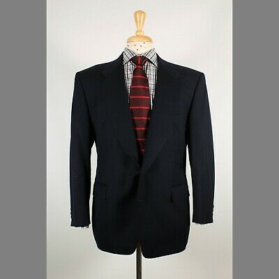 Canali 40S Navy Solid Wool Two Button Mens Sport Coat Blazer Jacket