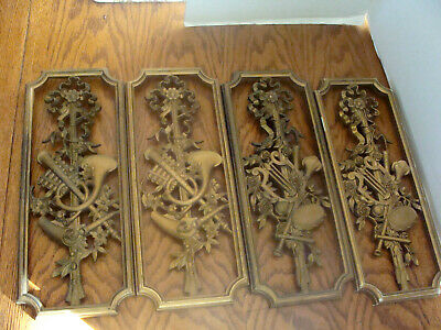 2 Sets of Syroco Gold Musical Instrument Wall Plaques 1964 Hollywood Regency