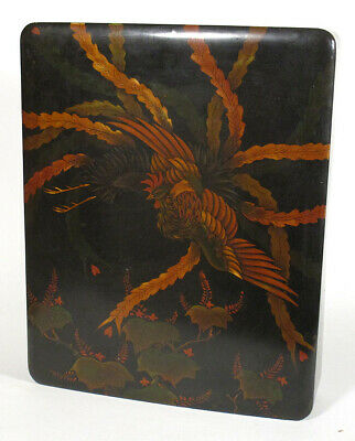Antique Chinese Black Lacquer LETTER DOCUMENT Photo BOX Bird of Paradise