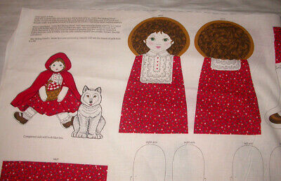 Fabric Panel Cloth Doll   Little Red Riding Hood & Wolf  Once Upon A Time fabric