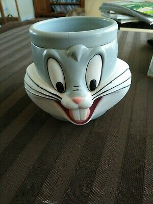 BUGS BUNNY Vintage 1992 Looney Tunes Warner Brothers Collectable Plastic Mug Cup