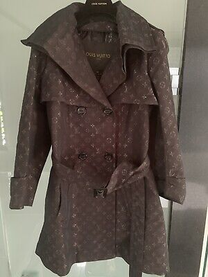 Louis Vuitton Monogram Trench Coat With Belt - Chocolate Brown Size 38