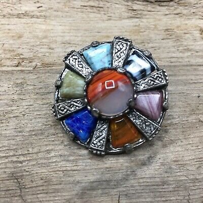 Vintage Jewelry Slag Glass Signed BROOCH PIN Lot D Silver Tone