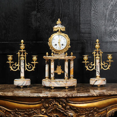 Antique French Ormolu and Marble Portico Clock Set by Louis Japy