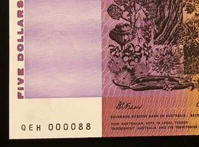 """Australia 1990 $5 Note ** VERY LOW """"LUCKY"""" NUMBER 000088 ** vUNC/UNC"""