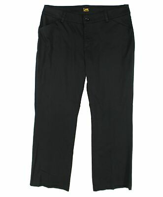Lee Womens Pants Black Size 10 Flat Front Curvy Fit Maxwell Stretch $60 649