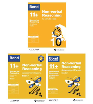 Bond 11+ Plus Non Verbal Reasoning Assessment Papers 3 Books Pack, Age 10-11