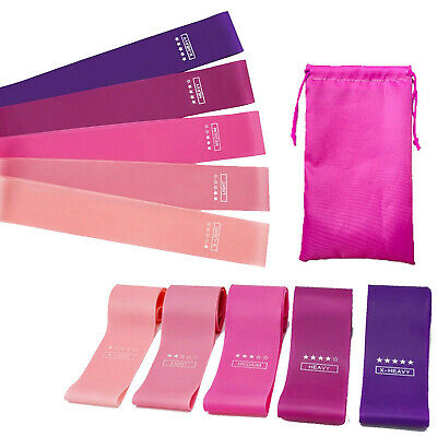 Latex Resistance Exercise Heavy Duty Bands Yoga Fitness Booty Loop band Set of 5