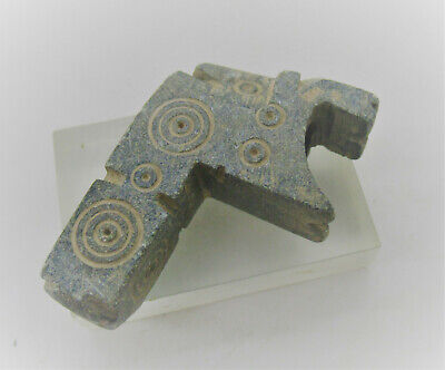 Very Interesting Ancient Bactrian Schist Stone Smoking Pipe With Ring & Dots