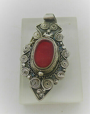 Beautiful Ancient Celtic Silver Pendant With Spiral Decorations And Red Stone