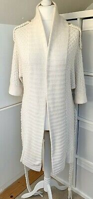 REISS Ivory Lambswool Angora Cashmere Blend Chunky Knit Belted Cardigan - Size M