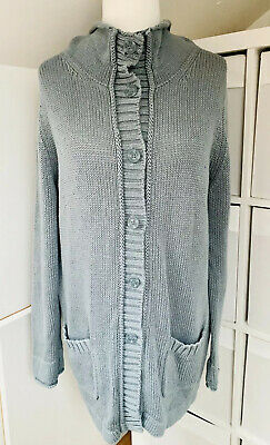 Poetry Light Blue 100% Cotton Lagenlook Chunky Knit Cardigan- Size 18