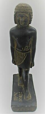 Scarce Ancient Egyptian Black Stone Pharoah Statuette With Heiroglyphics