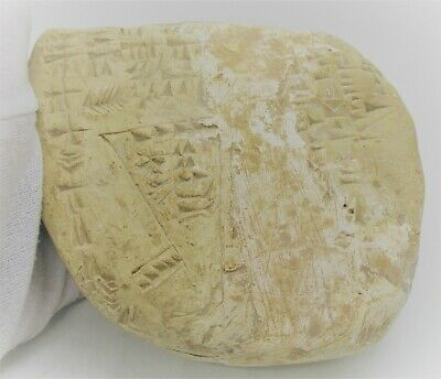 Circa 2000 Bce Ancient Near Eastern Clay Tablet With Early Form Of Writing Rare
