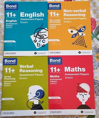 Bond 11 Plus 4 Books Stretch 10-11 years English, Verbal,Non-verbal,Maths