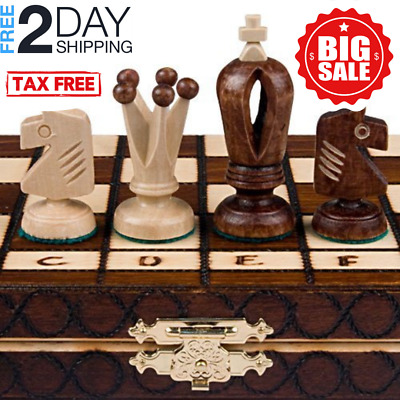 Wooden Chess Set Wood Board Hand Carved Crafted Pieces Made Folding Vintage 2020