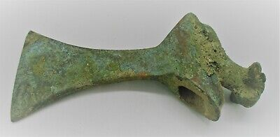 Scarce Ancient Luristan Bronze Axe Head With Ram Terminal Circa 1000 Bce