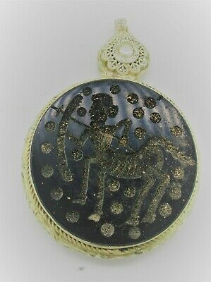 Beautiful Old Near Eastern Islamic Silver Amulet With Agate Stone Intaglio