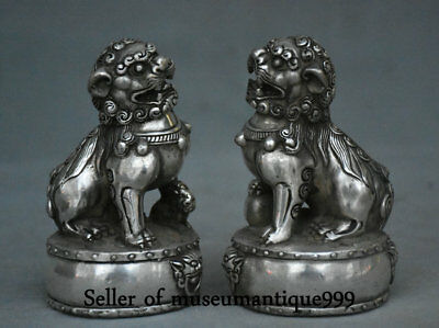 11CM Old China Silver Dynasty Feng Shui Foo Fu Dog Lion Lucky Wealth Statue Pair